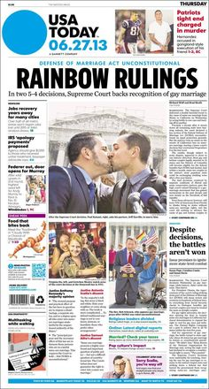 EE.UU: El histórico fallo a favor del matrimonio gay en portadas | Clases de Periodismo