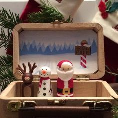 """Items similar to Christmas peg doll toy set - """"Tiny Tales of Christmas"""" on Etsy Wood Peg Dolls, Clothespin Dolls, Winter Christmas, Christmas Crafts, Christmas Time, Christmas Ideas, Cigar Box Projects, Wooden People, Wooden Pegs"""