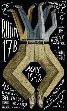 """Dave Plunkert    Poster for the upcoming performances of the comedy hit """"Room 17B"""" featuring slapstick masters Parallel Exit and co- presented by Quest Visual Theatre and Theatre Project"""