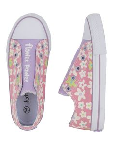 Features:Flower printed exterior and contrasting print interiorSlip-on means no fussy lacesSo cool that sneaking around will be impossible!100% cotton exterior and lining with 100% rubber solesFits true to size (comparable to Converse)Sizes: 7, 8, 9, 12, 13, 1, 2, 3. Check drop down list for size availability. 100% Cotton Canvas.Please note that this product has been discontinued and will not be back in stock.