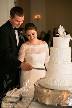 Cutting the cake at a wedding reception