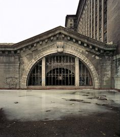 Exterior of Main Lobby, Michigan Central Station, Detroit; photo Sean Hemmerle, March 2008