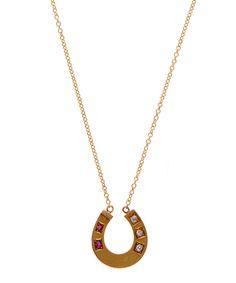 Annina Vogel Gold Old Cut Diamond Ruby Horseshoe Necklace