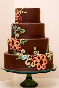 Modern, Colorful, Chocolate Wedding Cake from House of Clarendon in Lancaster PA Fondant Cakes, Cupcake Cakes, Cupcakes, Beautiful Cakes, Amazing Cakes, Best Cake Recipes, Unique Wedding Cakes, Birthday Cake Girls, Cake Shop