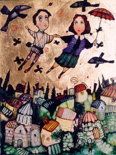 Russian Art Gallery - City of Love Art And Illustration, Frank Herbert, Art Deco Posters, Modern Witch, Jewish Art, Arte Popular, Georgia, Naive Art, Russian Art