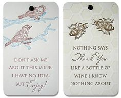 nature letterpress cards- wine gift cards with a sense of humour ;-)
