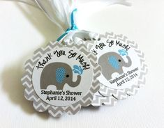 Gray Elephant Favor Tags in Chevron for Baby Shower or Birthday Boy