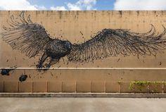 Bird, stunning street art (by DALeast)