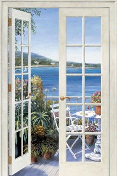 French Doors Seaside Peel and Stick Wall Mural - Wall Sticker. For the dining room?