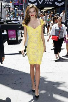 Truffol.com | Miranda kerr in yellow. Love the dress but I'd swap the heels for a neutral pair. #socialite #supermodel #style