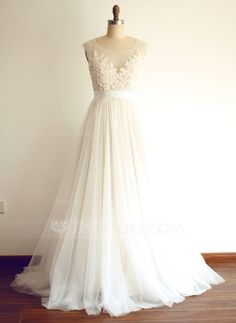 [US$ 199.99] A-Line/Princess Scoop Neck Sweep Train Wedding Dress With Beading Appliques Lace Sequins