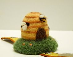 Bee Skep Needlefelted Wrist Pincushion by BackStitchChicks on Etsy ... so cute...