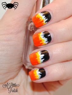 Black, White, Yellow, Orange, Abstract, Free Hand nail art, Halloween, holiday nail art