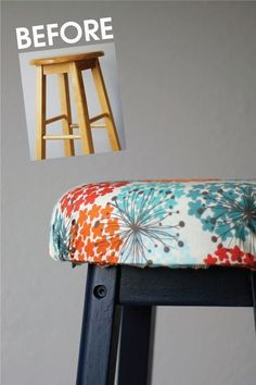 Take a boring wooden bar stool and makeover it with just a little paint, foam, and fabric!