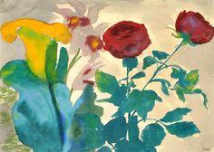 stilllifequickheart:    Emile Nolde  Rose, Calla, Iris  1925