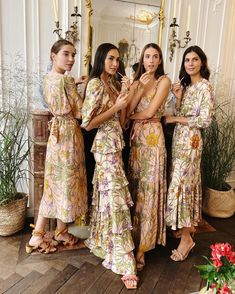 The Four new NUDE shades from the AERIN X Johanna Ortiz Essential Nudes Collection Printed Bridesmaid Dresses, Different Bridesmaid Dresses, Bridesmaid Outfit, Wedding Bridesmaids, Wedding Dresses, Wedding Looks, Dream Wedding, Vogue, How To Pose