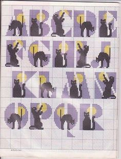 Cat alphabet cross stitch pattern part one