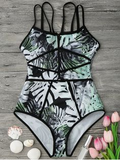 $13.99 Piping Tropical Print One Piece Swimsuit - GREEN/BLACK M
