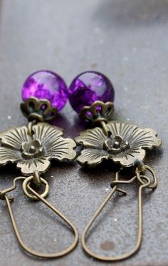 Purple Flower Earrings £6.00