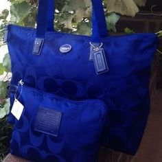 """***SOLD***Coach 2 Piece Set for sale in my closet on Poshmark:   Check it out!  Size: 20"""" x 11.25"""" x 7.25""""  $118  #poshmark #coach #onlineshopping #travel"""