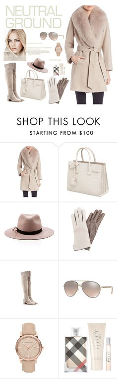"""Neutral ground!"" by ieva-galvina ❤ liked on Polyvore featuring Sofia Cashmere, Yves Saint Laurent, Eugenia Kim, Frauenschuh, Burberry and Gianvito Rossi"