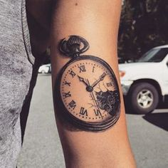 This watch, embodying broken perfection. | 19 Steampunk Tattoos That Will Transport You To An Alternate Universe
