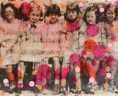 Girlfriends BFF Original Encaustic Mixed Media by susannajarian, $125.00