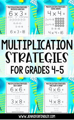 Do your students struggle with their multiplication facts? They dont need flashcards. They need strategies! Check out this post for the 6 multiplication strategies that I teach my and graders (and grab free posters! 4th Grade Multiplication, Multiplication Strategies, Fourth Grade Math, Math Strategies, Math Resources, Teaching Multiplication Facts, Grade 5 Math Worksheets, Math Fractions, Maths