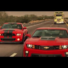 Chevrolet Camaro ZL1 VS. Ford Shelby GT500 Drag race.