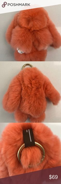 Cute little fur bunny, key ring made by 100% rabbit fur, brand new, imported Accessories Key & Card Holders