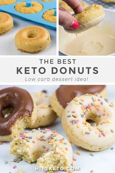 Craving donuts since you've gone keto? Our keto donuts recipe will have your sweet tooth begging for more... and only 2 net carbs per donut! #keto #lowcarb #ketofriendly #donuts #desserts #sweets #recipe #sugarfree #glutenfree #ketodonuts
