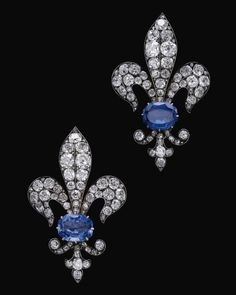 Pair of sapphire and diamond brooches, late 19th century.