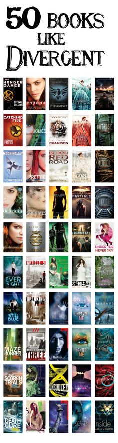 50 Books Like Divergent of course it's more like only 20 bc so many are series