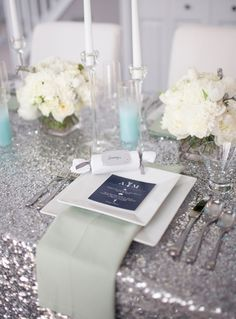 silver glitter tablecloth mint wedding navy