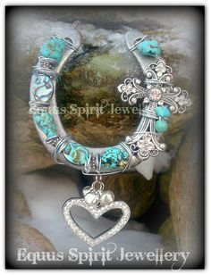 Gemstone good fortune horseshoe by EquusSpiritJewellery on Etsy, £22.00