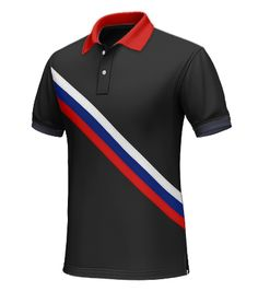 Russia Men's Polo Shirt - Wear this polo as Russia competes in the World Cup.  Made from 100% cotton. This black polo has a white, red, and blue running diagonally across the chest. With a red collar and navy blue hems, you are sure to stand out even in a black polo.  http://www.tailor4less.com/en/collections/custom-polo-shirts/world-cup-polo-collection/russia-mens-polo-shirt