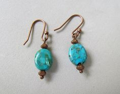Turquoise Stone and Copper Handmade Earrings by Harleypaws on Etsy, $15.00