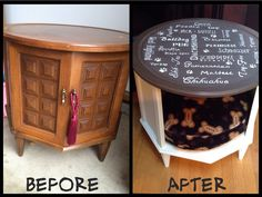 Dog Bed Table Made from old end table