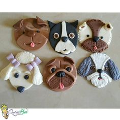 New topper class? Fondant Cupcakes, Puppy Cupcakes, Animal Cupcakes, Fondant Toppers, Cupcake Cakes, Muffins Decorados, Cupcakes Flores, Fondant Animals, Dog Cookies