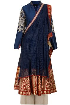 Blue flared anarkali with palazzo and drape dupatta available only at Pernia's Pop-Up Shop.