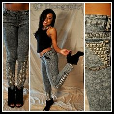 Acid Wash Studded Skinny Jeans