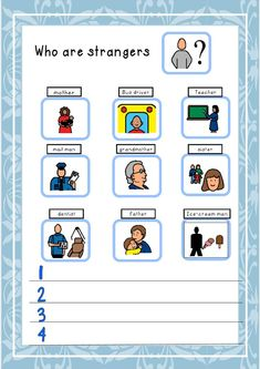 This Social story is a small book highlighting the danger of strangers and what not to do. A Stranger Danger work sheet is part of this unit. These small books can be laminate for durability and read to or with your pupils. Teaching Safety, Teaching Social Skills, Learning Resources, Therapy Activities, Preschool Activities, Work Activities, Preschool Lessons, Protective Behaviours, Social Stories Autism