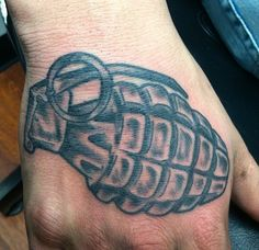 Black and grey grenade tattoo by Chris Wilson. Grenade Tattoo, Shane Tattoo, Alphabet Stencils, Old School, Henna, Tatting, Black And Grey, Tattoo Ideas, Ink