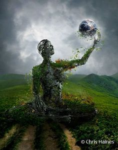 Rise by mortalitas on DeviantArt Art And Illustration, Art Illustrations, Mother Earth, Mother Nature, Art Sombre, Dark Artwork, Surreal Art, Photomontage, Photo Manipulation