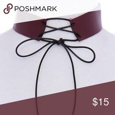 Burgundy Leather Choker burgundy imitation Leather Black lace Up Choker Accessories