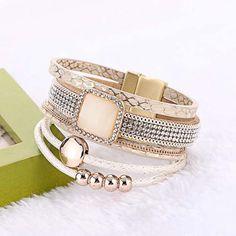 Fashion Bohemian Handmade Gem Rhinestone Wide Magnetic Leather Bracelets