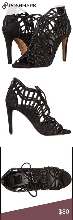 """dolce vita // caged strappy sandal NIB Dolce Vita black suede caged strappy dress sandal. Rear zipper and 3.5"""" heel. Sexy and unique! Dolce Vita Shoes Heels"""