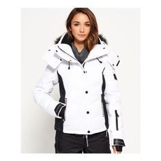 Superdry Snow Puffer Jacket (2 155 SEK) ❤ liked on Polyvore featuring activewear, activewear jackets, white and superdry