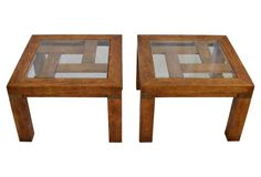 Love the fretwork on these Glass-Top Side Tables by Drexel