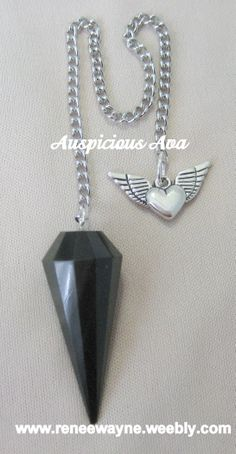 Custom Black Obsidian pendulum and heart with wings charm - www.reneewayne.weebly.com